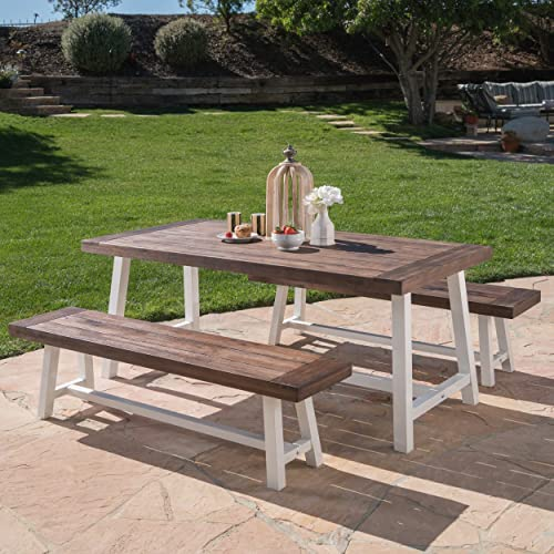 Cassie Outdoor Modern Industrial 3 Piece Acacia Wood Picnic Dining Set