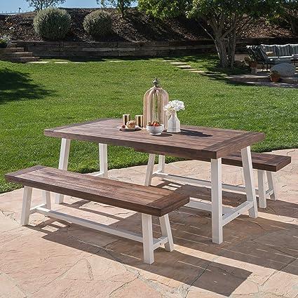 Amazon Com Great Deal Furniture Cassie 3 Piece Acacia Wood Picnic