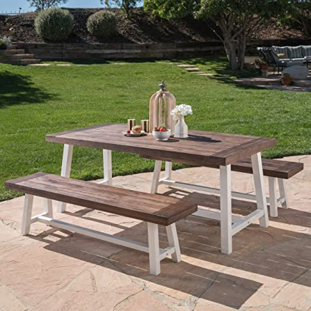 Great Deal Furniture Cassie 3-Piece Acacia Wood Picnic Table – Outdoor Dining Set for Patio or Deck, 2 Benches