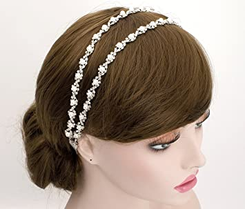 Amazon.com   Double Pearl Flower Lace Headband Wedding Bridal Bridesmaids  Headpiece Hair Accessory (Ivory RIbbon)   Beauty 11f2b5a3c01