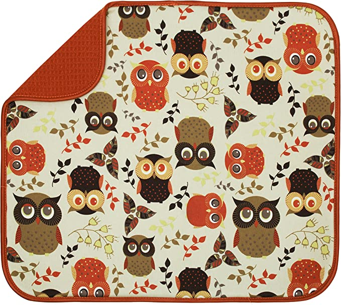 S&T INC. 582201 Owl Dish Drying Mat, Standard
