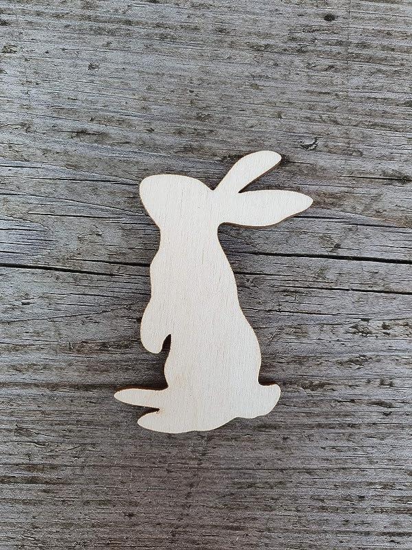 Rabbit Style 6 Unfinished Wood Shape Cutout Variety Sizes USA Made Farm Animal Theme Easter Decor