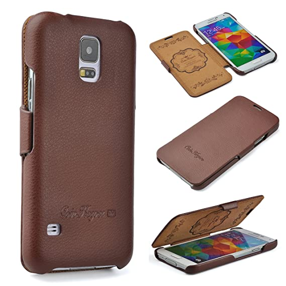 CoinKeeper Samsung Galaxy S5/S5 Neo Hülle - Echt Leder - Handgefertigt - Perfekter Schutz für Ihr Smartphone - Flip Case Etui