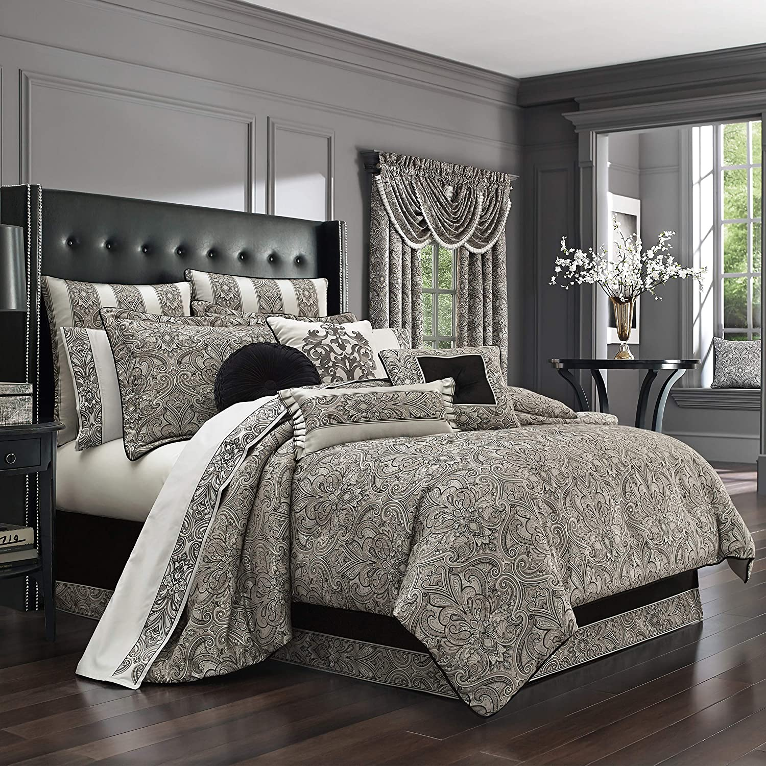 Five Queens Court Carleigh Woven Jacquard Luxury 4pc. Comforter Set, Silver, Queen, 92x96