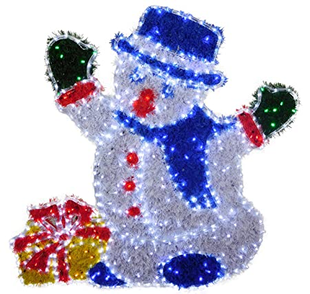 Christmas concepts 120cm x 110cm led rope light snowman with gift christmas concepts 120cm x 110cm led rope light snowman with gift box with tinsel decoration aloadofball Images