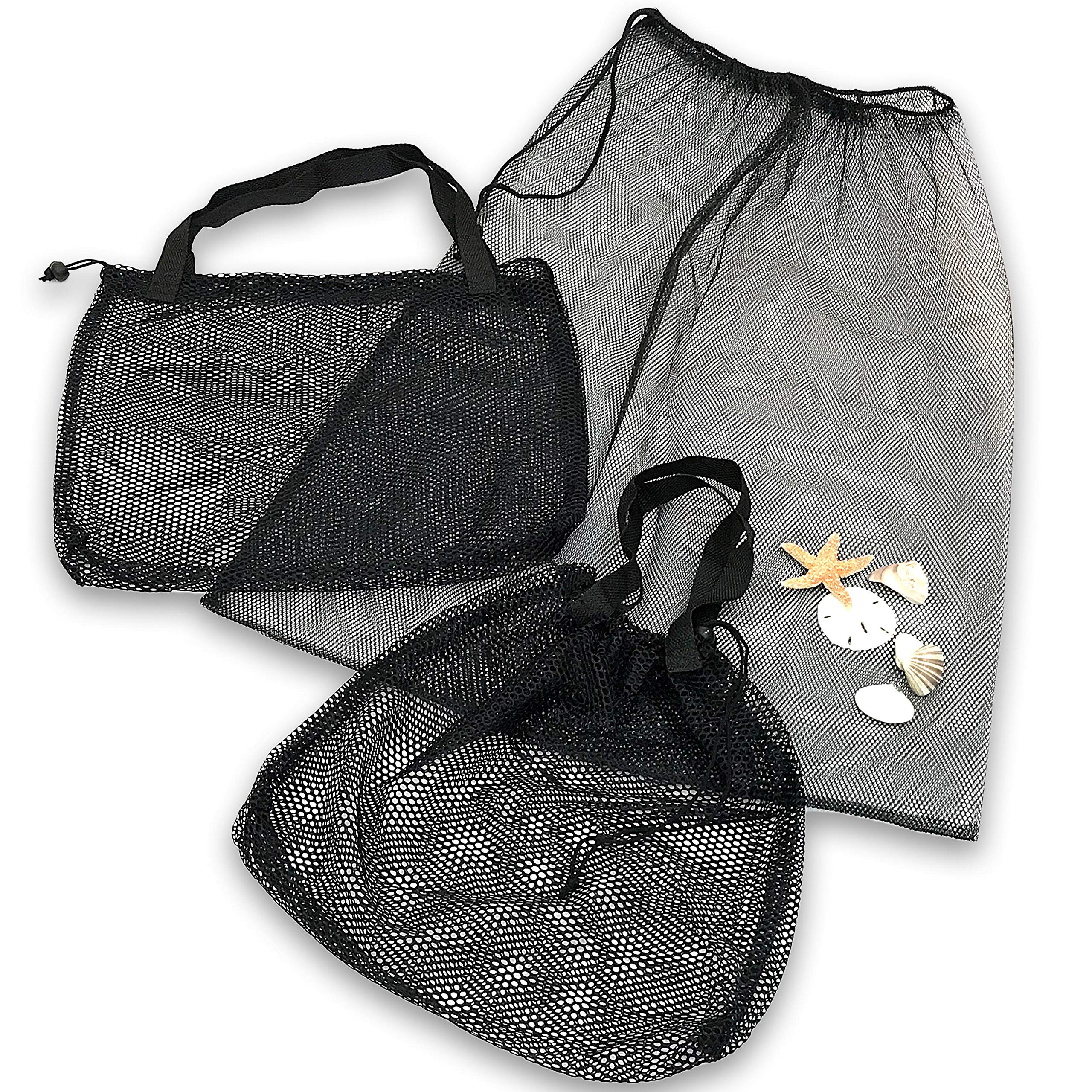 Beach Tote - Gym Bag - Set of 3 with 2 Sizes - Mesh Urban Design for Multi Use by apricot dot (Image #1)