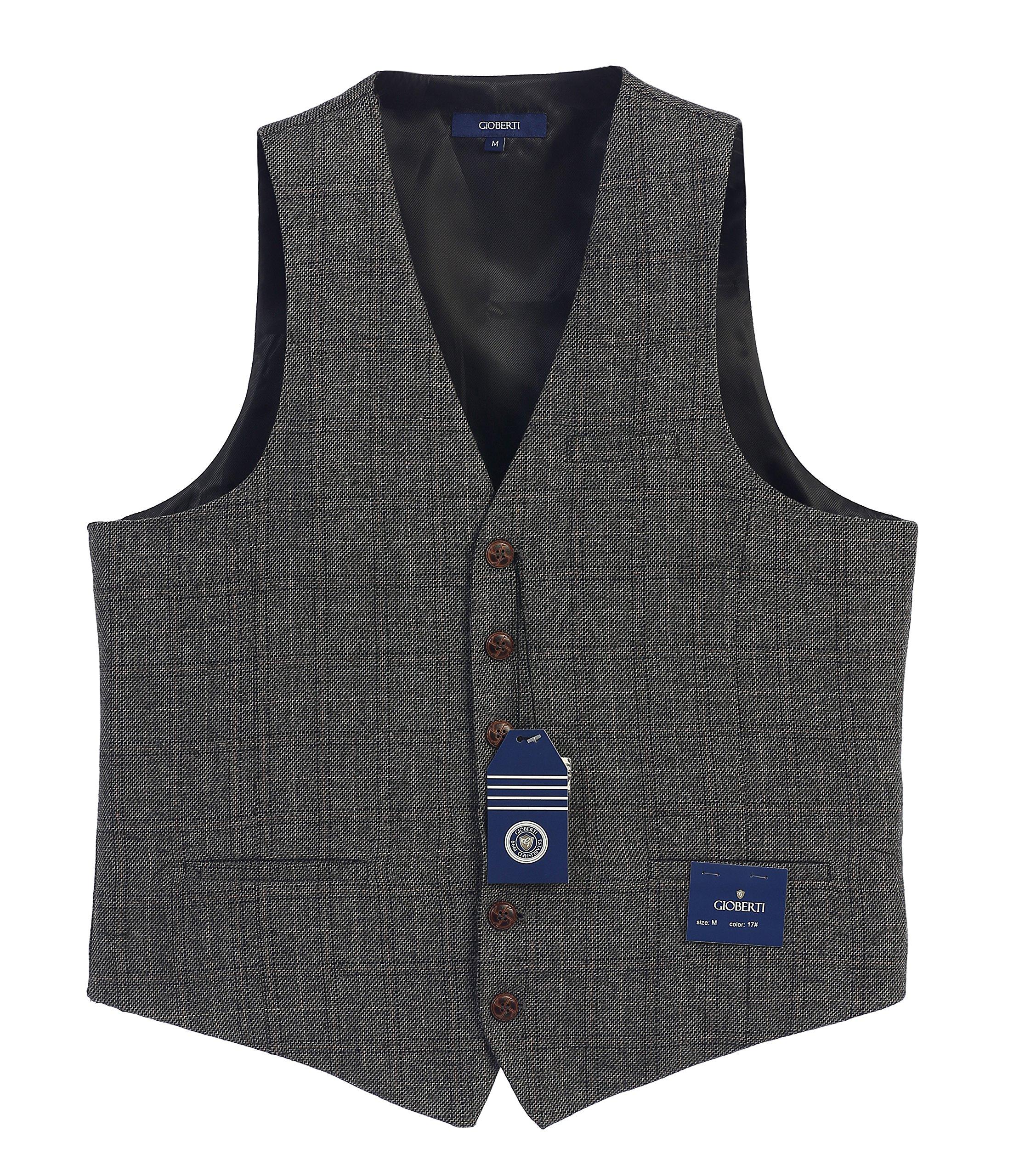 Gioberti Men's 6 Button Custom Formal Tweed Vest, Checked Charcoal/Tan, Small