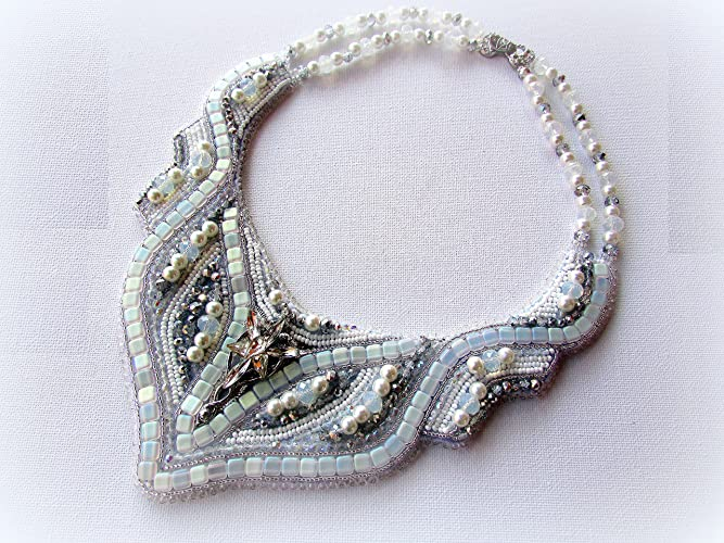 86d5ec7cc2 Amazon.com: Bead embroidery white bib wedding jewelry statement necklace  OOAK hand beaded and embroidered seed bead bridal necklace: Handmade