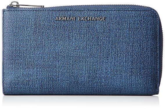 Armani Exchange - Texturized Round Zip Wallet, Carteras Mujer, Azul (Denim),