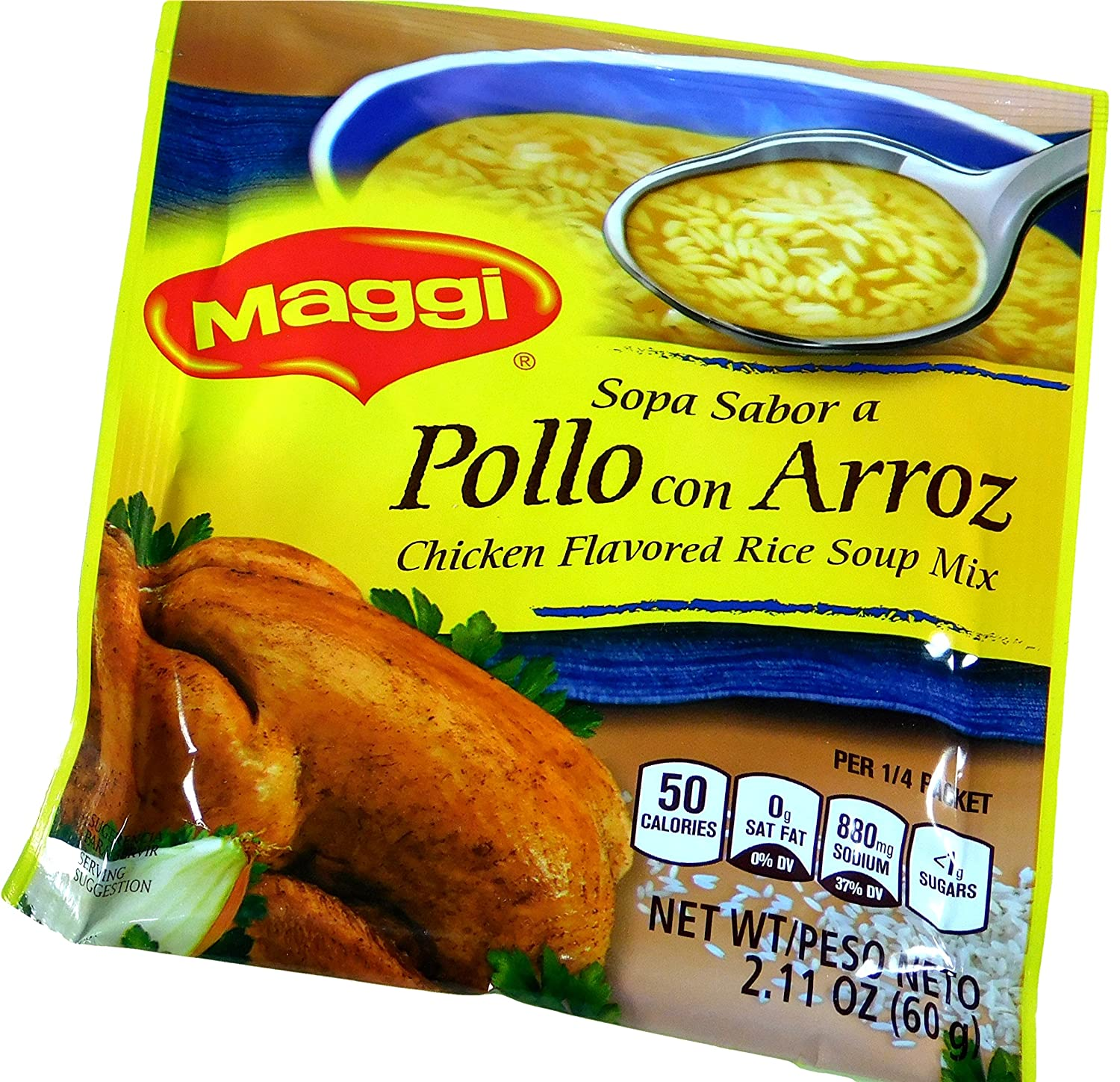 Amazon.com : Maggi Imported Sopa Sabor a Pollo con Arroz Chicken Flavored Rice Soup 2.11 oz / 60 gr. (Pack of 12) : Grocery & Gourmet Food