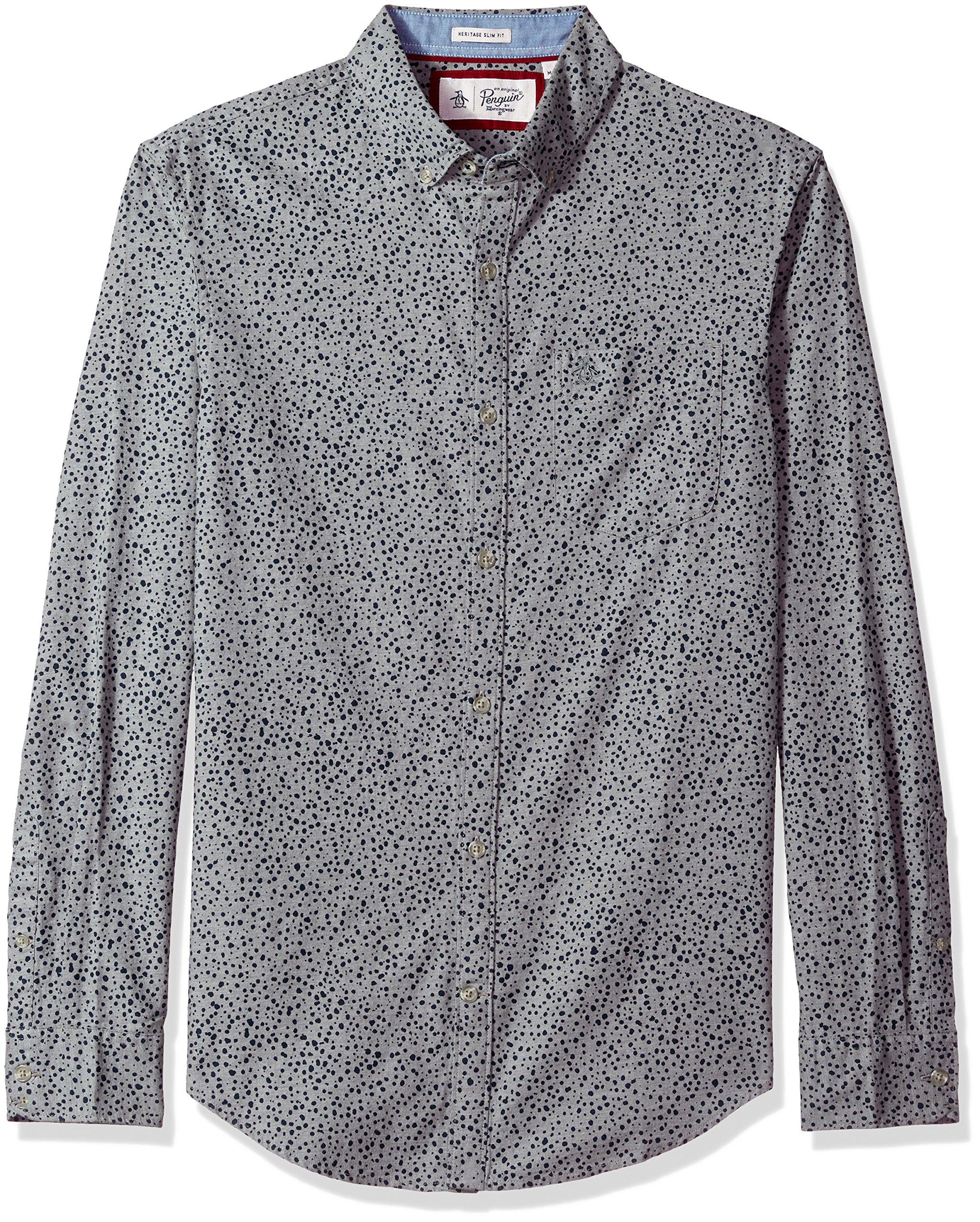 Original Penguin Men's Scattered Drop Shirt, Rain Heather, Large