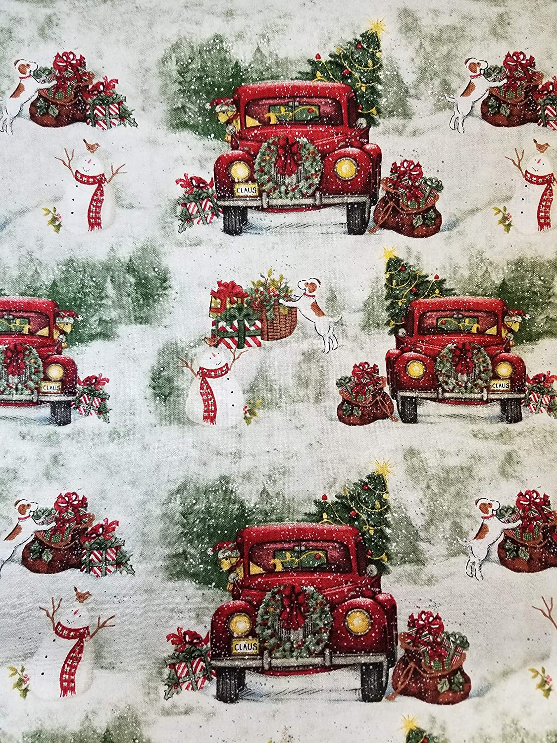 Christmas Red Pickup Truck Tree Country 16