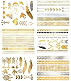 Premium Metallic Temporary Hair Tattoos - 75+ Temporary Shimmer Designs in Gold & Silver (Hazel Collection)