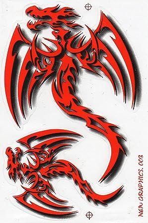 Fliegender Drache Rot Sticker Aufkleber Folie 1 Blatt 270 Mm X 180 Mm Wetterfest Auto