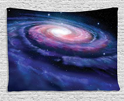 Ambesonne Galaxy Tapestry Wall Hanging, Nebula In Outer Space Spiral  Stardust Mist Cloud Of Dust