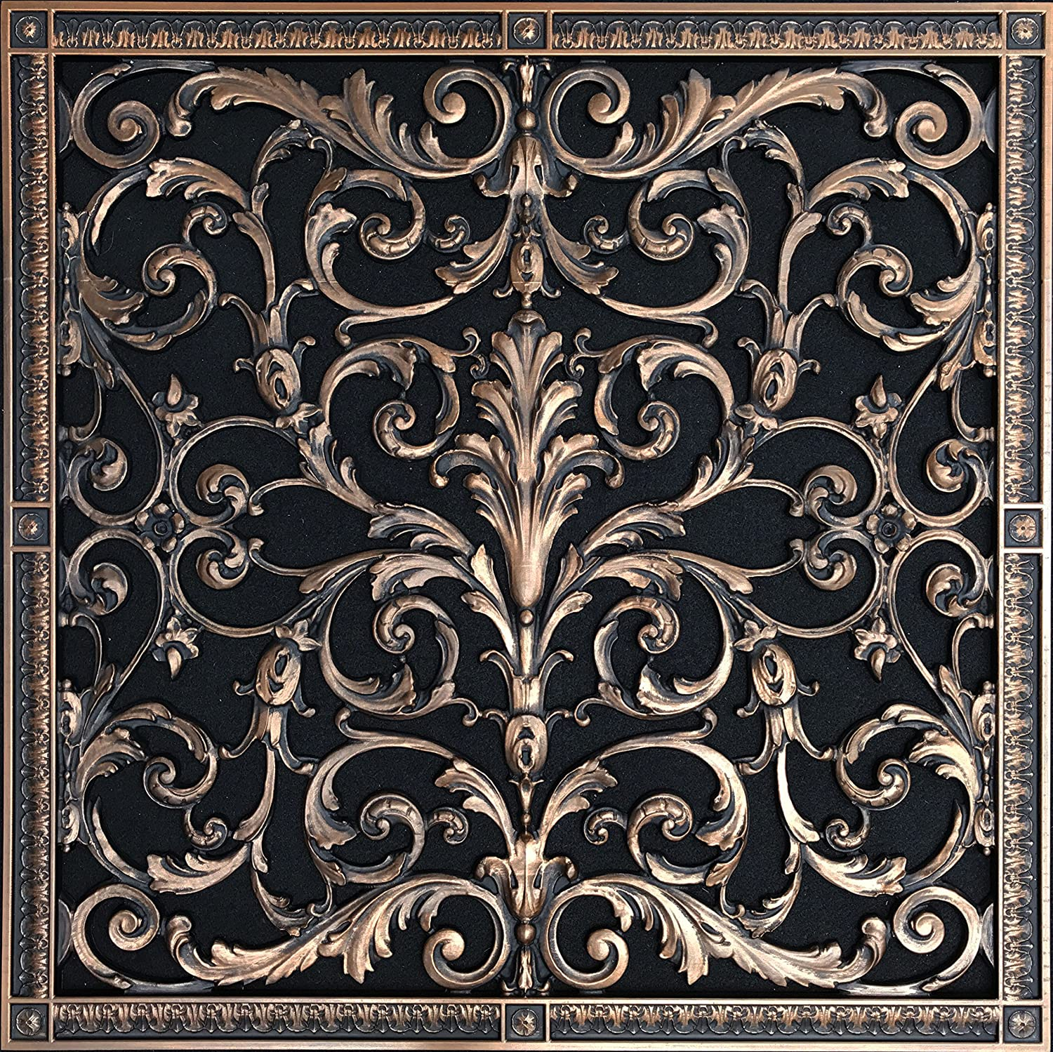 """Decorative Vent Cover, Grille, Return Register, made of Urethane Resin, in  French style fits over a 20""""x 20"""" duct opening  Total size, 22"""" by 22"""","""