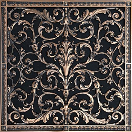 """Decorative Vent Cover, Grille, Return Register, made of Urethane Resin, in  French style fits over a 20""""x 20"""" duct opening  Total size, 22"""" by"""