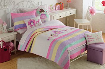 toddler bedding set castel fairy and unicorn 2pc quilt set purple pink cotton embroider girl bedding - Toddler Girl Bedding