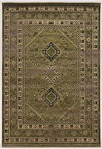 Linon Serape Collection Goravan Synthetic Rugs, 5'x7'6, Green