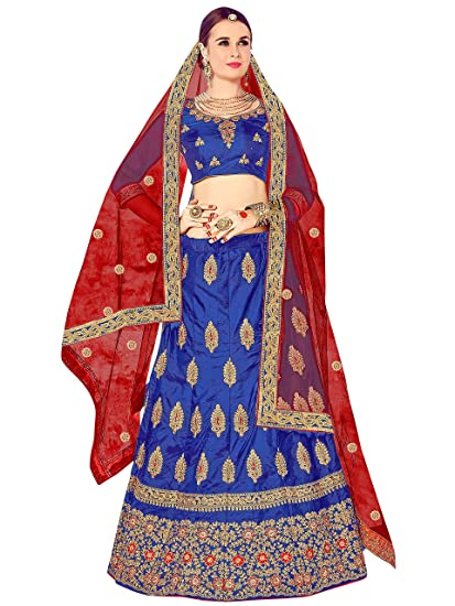 108d498136e Maroosh Silk Women S Embroidered Lehenga Choli In Blue Color  Amazon.in   Clothing   Accessories