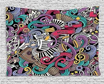 doodle tapiz por Ambesonne, música temáticas de dibujado a mano abstracta instrumentos micrófono Tambores teclado Stradivarius, colgar en la pared para ...