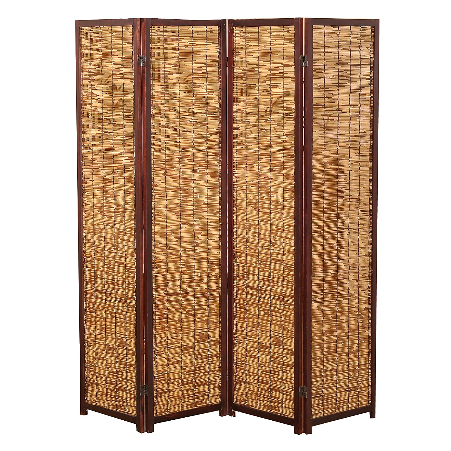 Amazoncom Decorative 4 Panel Wood Bamboo Folding Room Divider