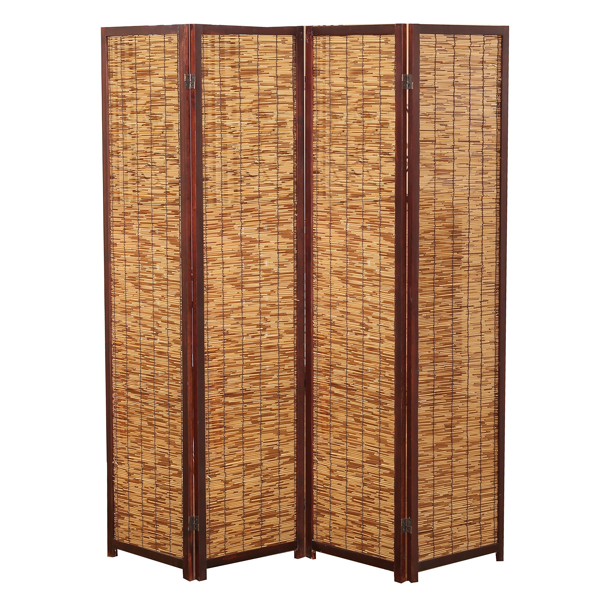 Decorative 4 Panel Wood & Bamboo Folding Room Divider Screen, Brown