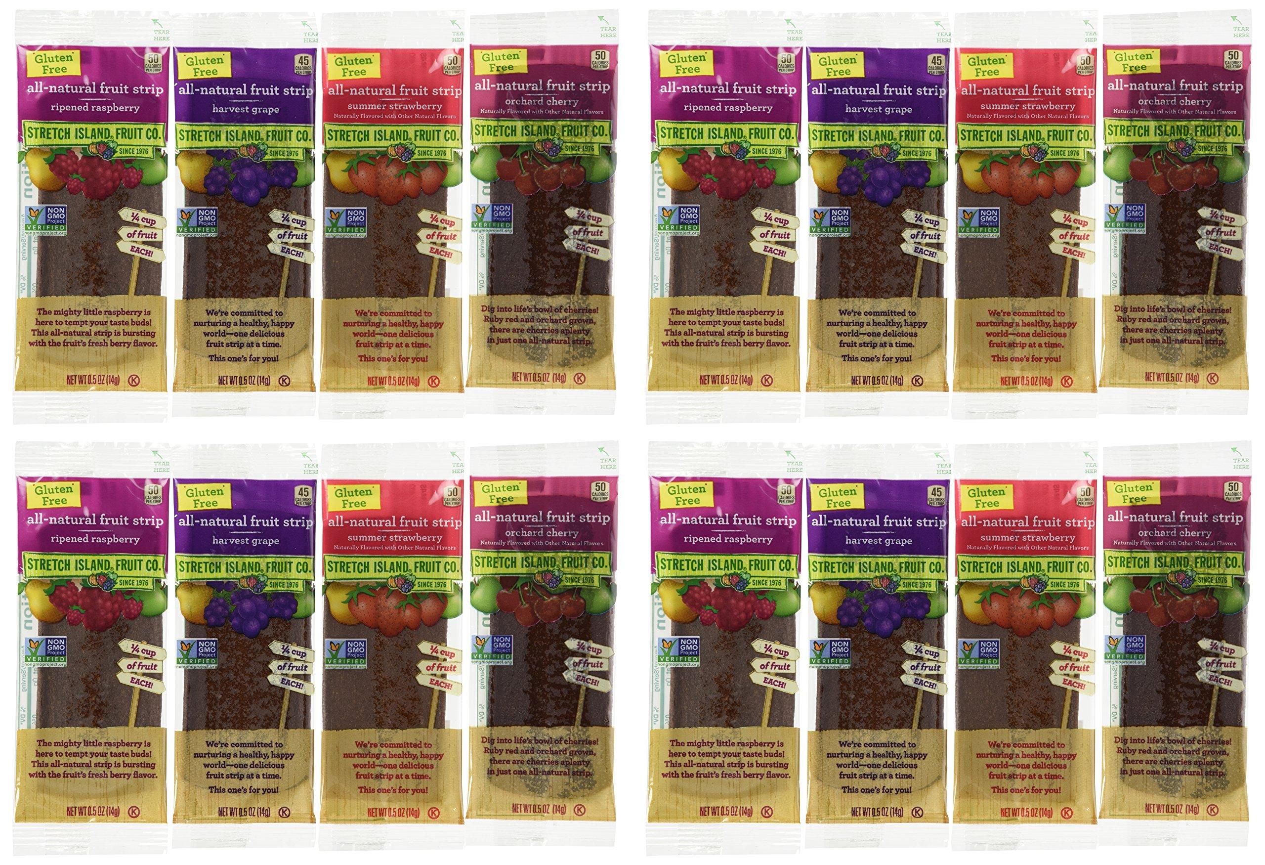 Stretch Island All-Natural Gluten Free Fruit Strips 4 Flavor 16 Snack Variety Bundle: (4) Stretch Island Ripened Raspberry, (4) Stretch Island Orchard Cherry, (4) Stretch Island Summer Strawberry, and (4) Stretch Island Harvest Grape, .5 Oz. Ea. (16 Snack