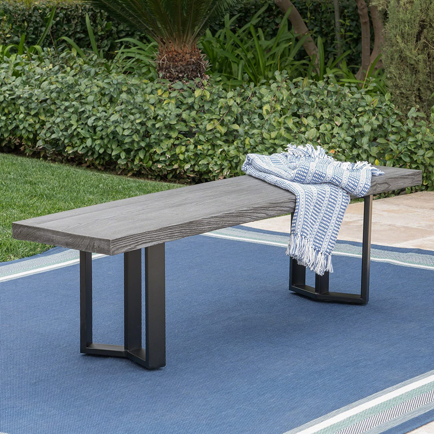 Christopher Knight Home 304104 Andre Outdoor Textured Grey Oak Finish Light Weight Concrete Dining Bench, Black