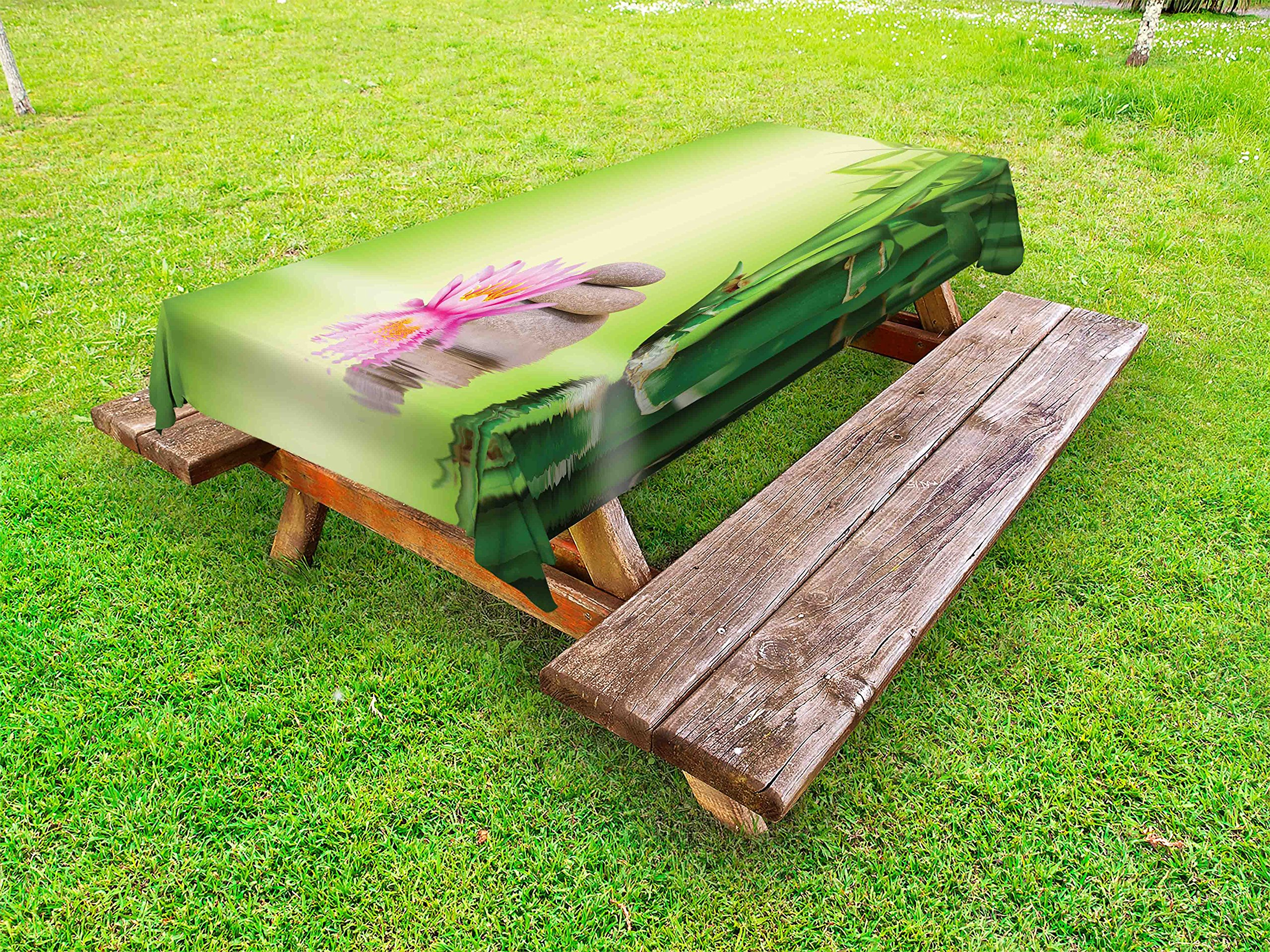 Ambesonne Spa Outdoor Tablecloth, Zen Garden Asian Self-Control Freshening Insight in Daily Life Mindful Activity Print, Decorative Washable Picnic Table Cloth, 58 X 104 inches, Green Pink