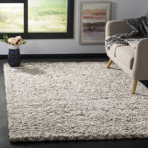 Safavieh Hudson Shag Collection SGH330A Ivory and Grey Area Rug 3 x 5