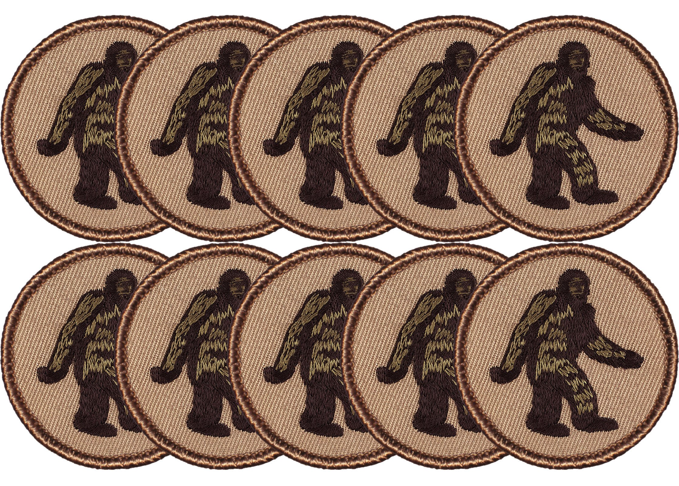 Bigfoot Patrol Patch - 2'' Diameter Round Embroidered Patch (10 Pack) by Patchtown