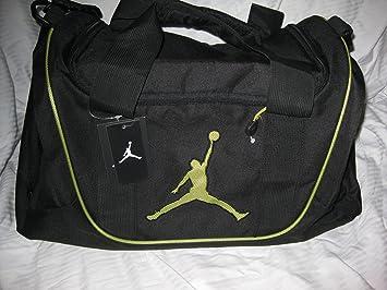 Nike Air Jordan Duffel Gym Bag Basketball Tote Black Lime Green Travel Duffle