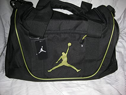 Image Unavailable. Image not available for. Color  Nike Air Jordan Duffel  Gym Bag Basketball Tote Black Lime Green ... febee9b4cc16d