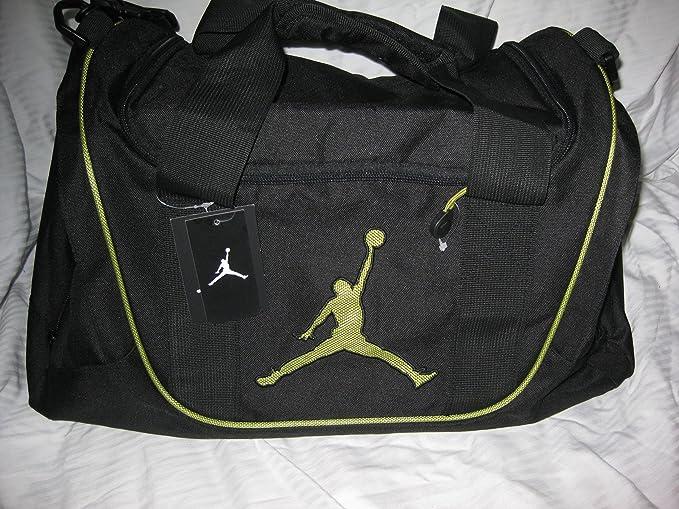 bc586217d0b2ff nike air jordan duffel gym bag basketball tote black lime green tote travel duffle  bag