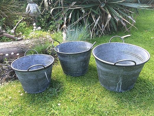 Juego de 3 redondo Vintage Zinc cubo de metal galvanizado jardín maceta de flores olla cubos: Amazon.es: Jardín
