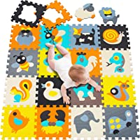 Meiqicool Foam Play Mat for Babies and Children 18 EVA Foam Floor Tiles with Safari Animals,Softer Puzzle Mat for Crawling and Learning-100% Safe, Non-Toxic, Odorless 010011