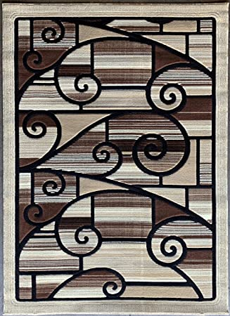 Modern Area Rug Design Beige 110 5 Feet 2 Inches X 7 Feet 3 Inches Kitchen Dining