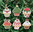 Janlynn 21-1390 Christmas Cupcake Ornaments Counted Cross Stitch Kit