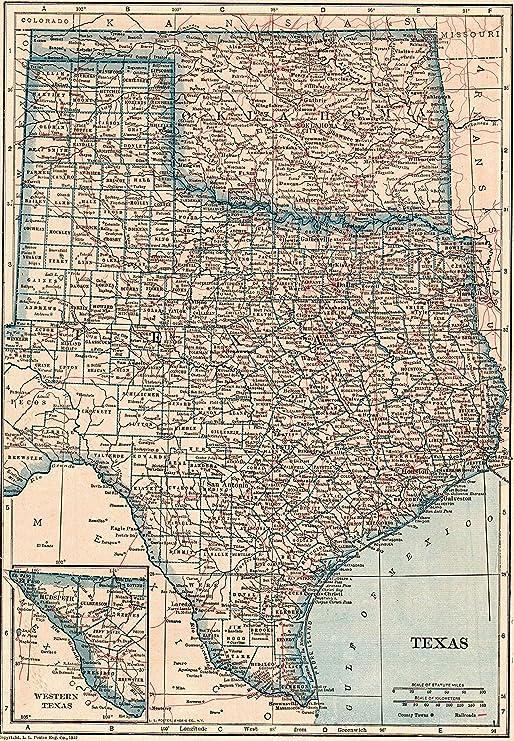 Amazon Com 1921 Antique Texas State Map Original Vintage Map Of