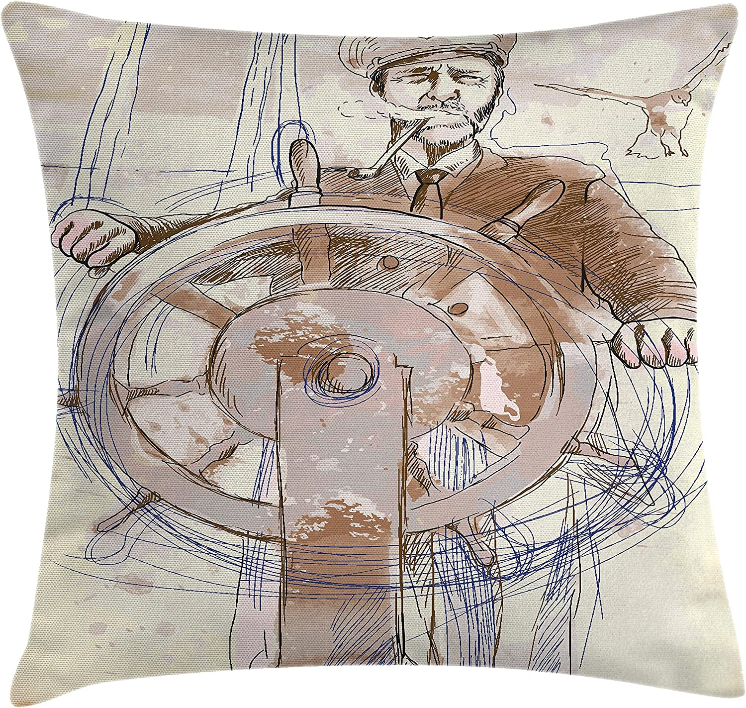Amazon Com Ambesonne Nautical Throw Pillow Cushion Cover Sea Captain The Leader Seaman Sketch Art Navigation Navy Classical Flying Bird Decorative Square Accent Pillow Case 20 X 20 Brown Cream Home Kitchen