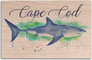 Lantern Press Cape Cod, Massachusetts - Great White Shark - Watercolor (10x15 Wood Wall Sign, Wall Decor Ready to Hang)
