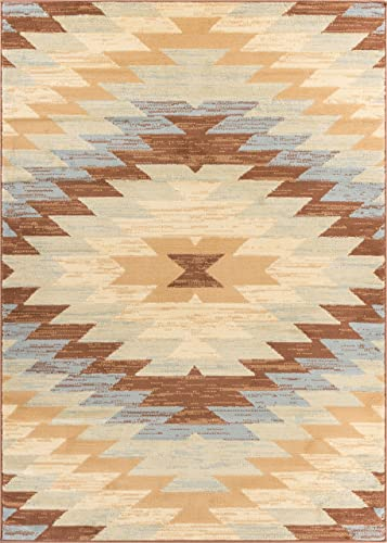 Well Woven Miami Alamo Southwestern Blue Southwest Area Rug 8 2 X 9 10