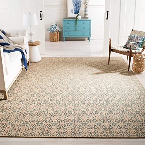 Safavieh Palm Beach Collection PAB511A Hand Woven Natural and Turquoise Jute Area Rug 9' x 12'