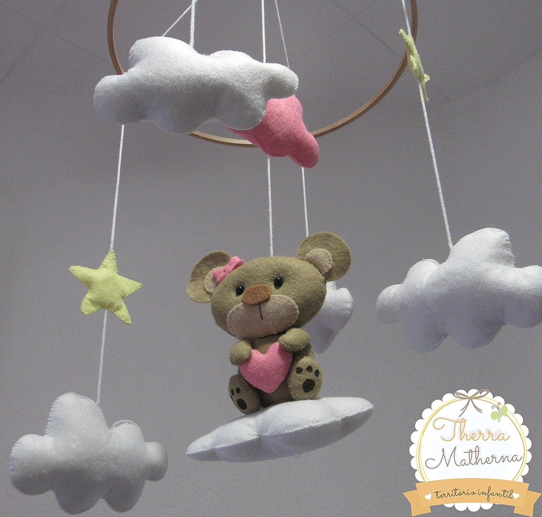 Móvil de cuna en fieltro - Oso con nubes y estrellas.: Amazon.es ...