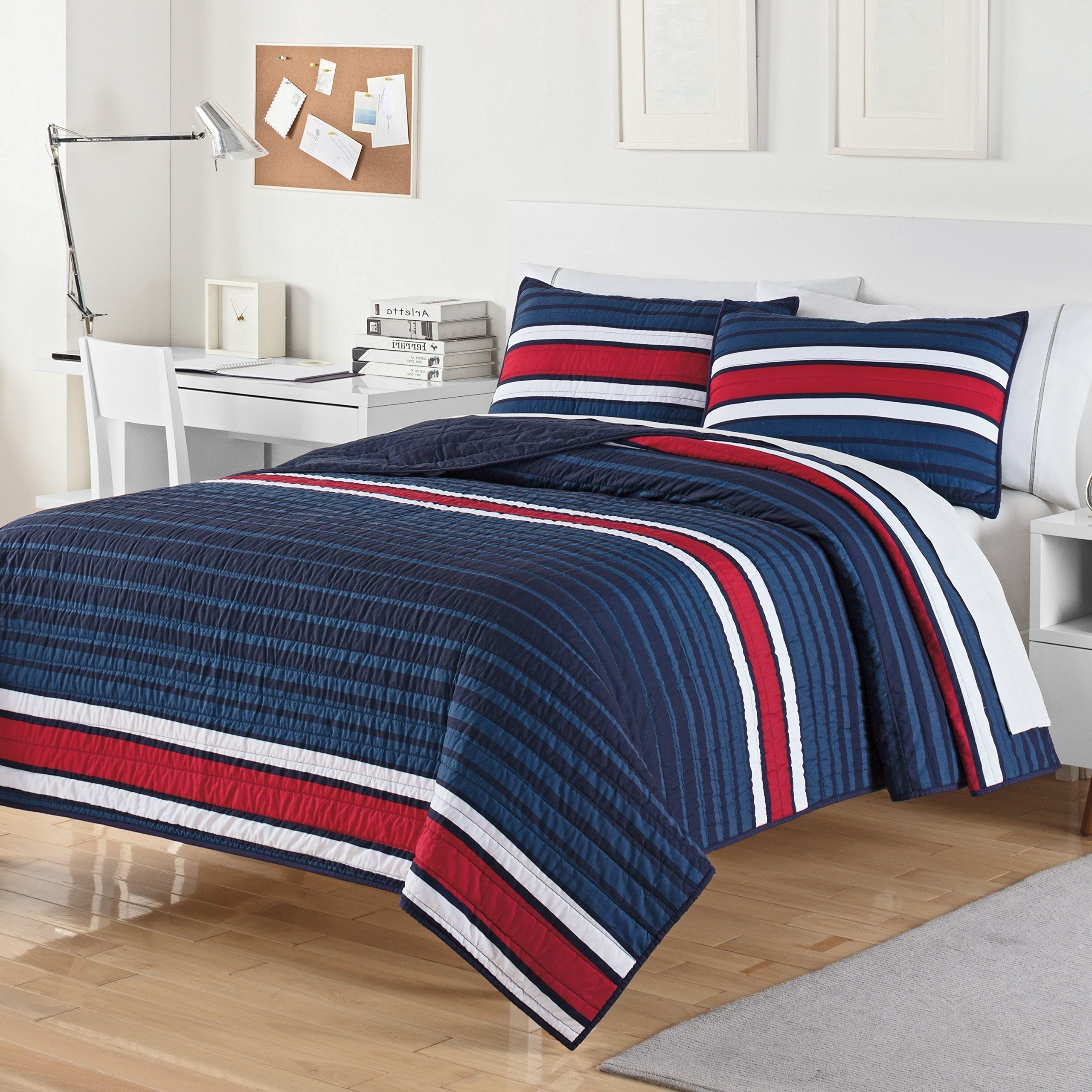 OS 3 Piece White Blue Stripe King Quilt Set, Red Rugby Themed Bedding Navy Dorm Room College University Bedroom Bold Modern Chic Stylish Trendy, Polyester