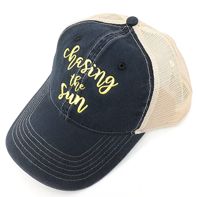 fb506a047 Custom Monogrammed Chasing The Sun CC Black Trucker Hat at Amazon ...