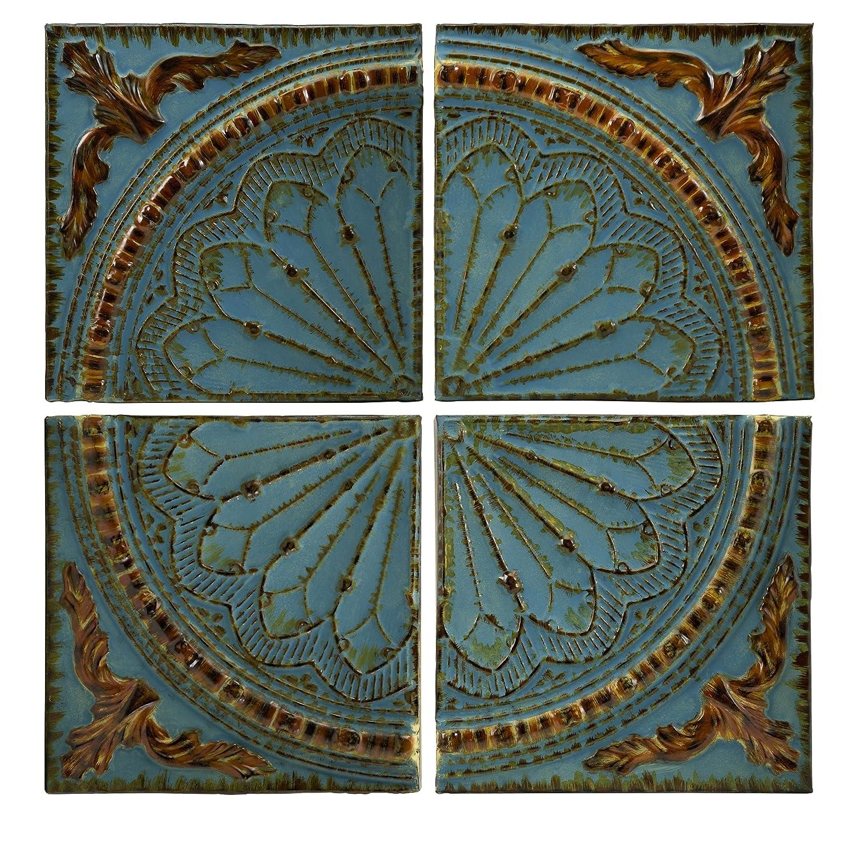 amazon com imax 12468 blue quarter medallion wall panels set of