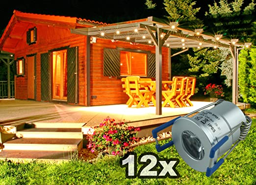 LED Iluminación Regulable exterior impermeable IP65 Juego completo 12 x 2watt Mini Foco Blanco Cálido para terrazas CarPort Jardín de invierno Baja Profundidad de montaje para perfil de aluminio: Amazon.es: Iluminación