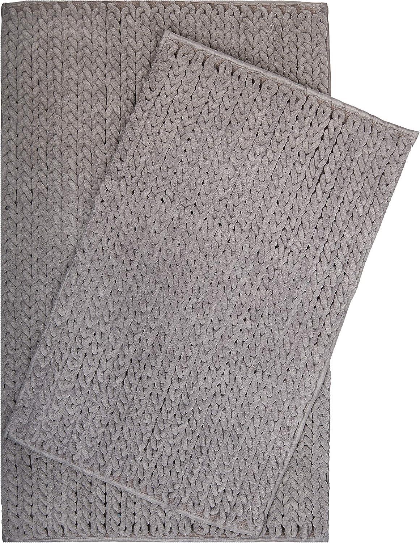 Chenille 80 x 50 cm Tapis de bain LazyLife Premium antid/érapant et lavable gris